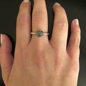 David Yurman Blk Petite Pave Diamond Cushion Ring